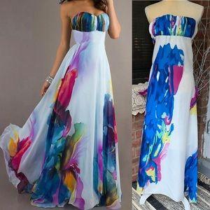 Sexy Strapless Floral Long Maxi Dress Womens sz M